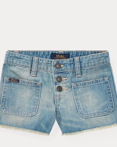 Cotton Denim Cutoff Short