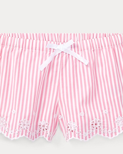 Striped Eyelet Poplin Short
