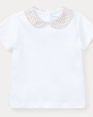 Floral-Collar Cotton Top