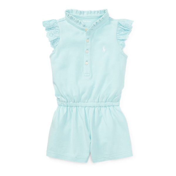 Ralph Lauren Cotton Flutter-Sleeve Romper Crystal Blue 3M