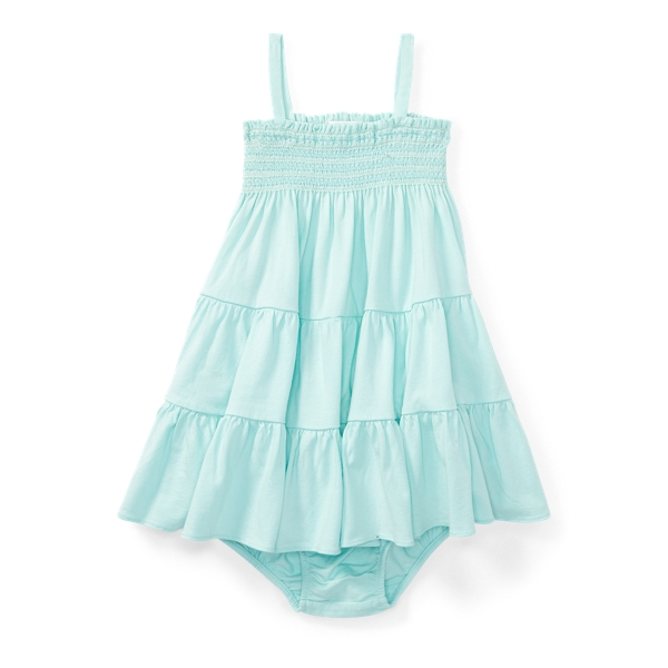 Ralph Lauren Smocked Jersey Dress & Bloomer Crystal Blue 6M