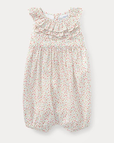 Floral Ruffled Cotton Romper