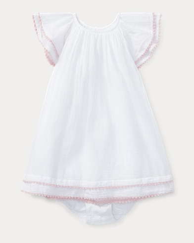 Pom-Pom Cotton Dress & Bloomer