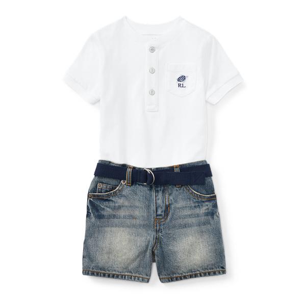 Ralph Lauren Henley, Belt & Denim Short Set White 6M