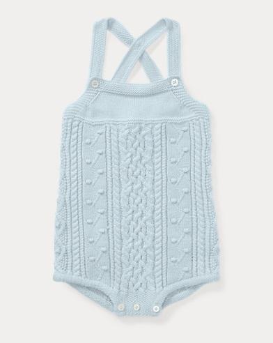 Aran-Knit Cotton Shortall