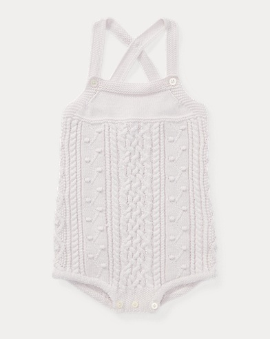 Aran-Knit Cotton Shortall