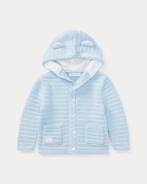 Bear-Hood Cotton Cardigan