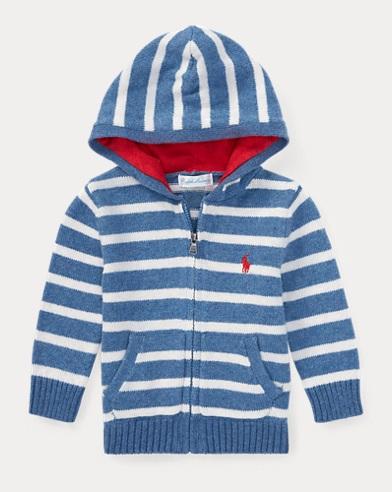 Striped Cotton Full-Zip Hoodie