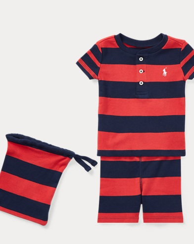 Stripe Cotton Pajama Short Set