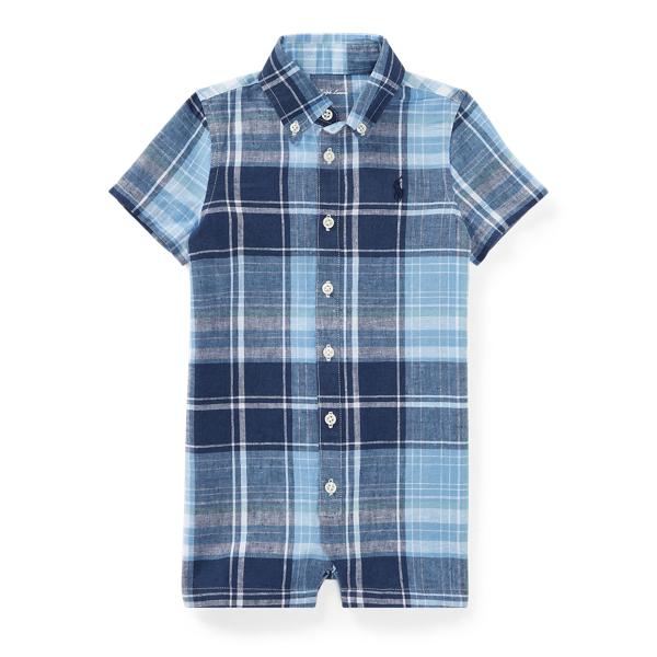 Ralph Lauren Plaid Linen-Cotton Shortall Blue Multi 9M
