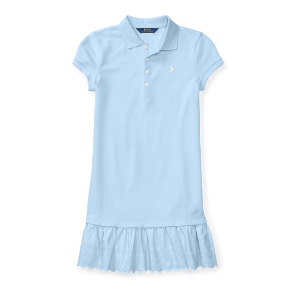 Ralph Lauren Eyelet-Hem Mesh Polo Dress Elite Blue Xl