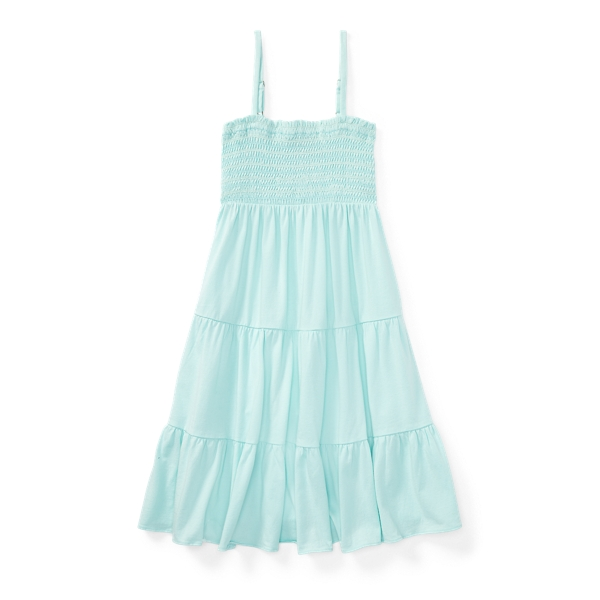 Ralph Lauren Smocked Tiered Jersey Dress Crystal Blue Xl