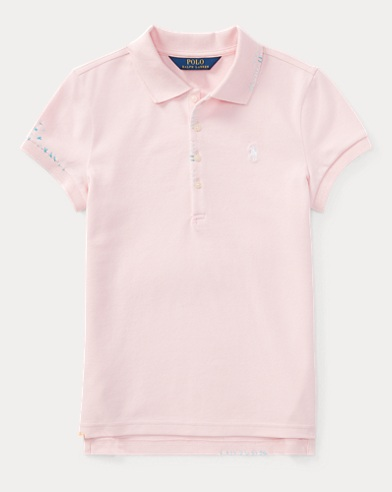 Embroidered Stretch Mesh Polo