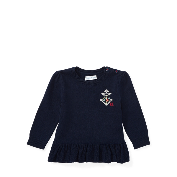 Ralph Lauren Cotton-Cashmere Peplum Sweater Hunter Navy 3M