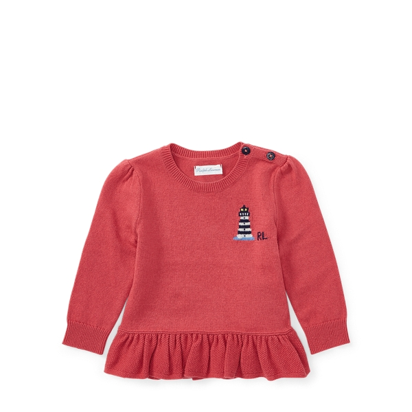 Ralph Lauren Cotton-Cashmere Peplum Sweater Nantucket Red 24M
