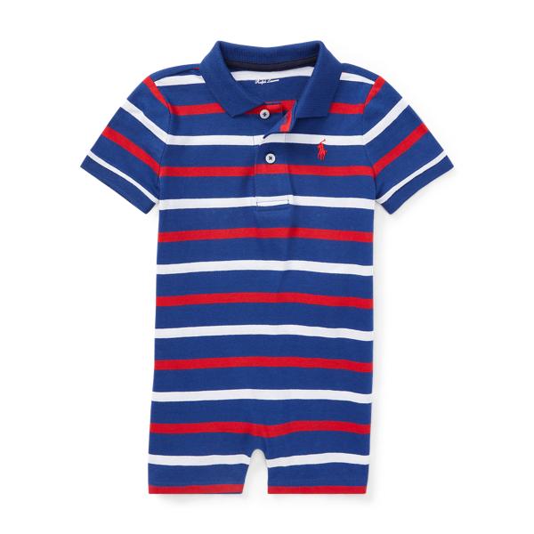 Ralph Lauren Striped Cotton Polo Shortall Chalet Blue Multi 18M