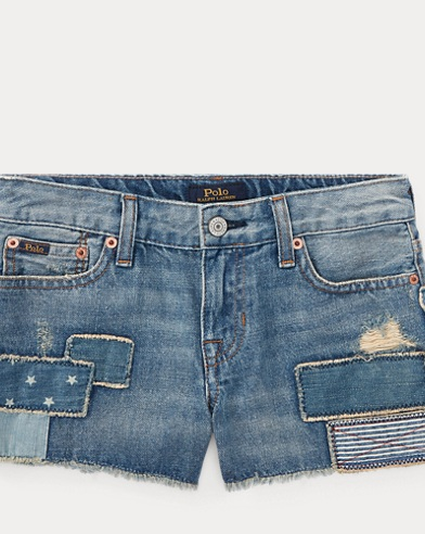 Patchwork Cotton Denim Short
