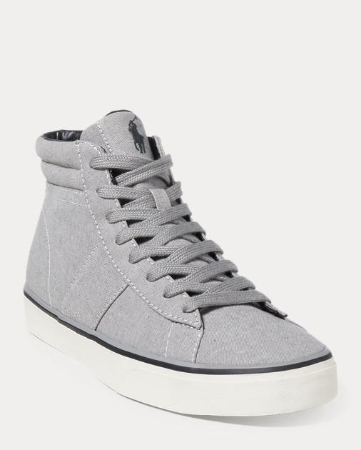Ralph Lauren Shaw Chambray High-Top Sneaker Grey 7