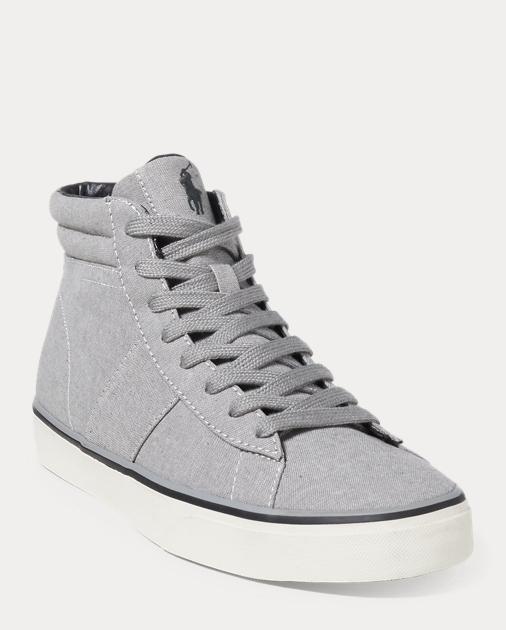Ralph Lauren Shaw Chambray High-Top Sneaker Indigo 9 mepo3I6Nbq