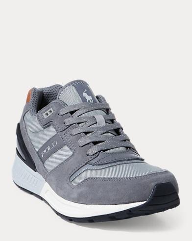 Ralph Lauren Train 100 Suede-Mesh Sneaker Basic Grey/New Glacier 14 8qUe8N