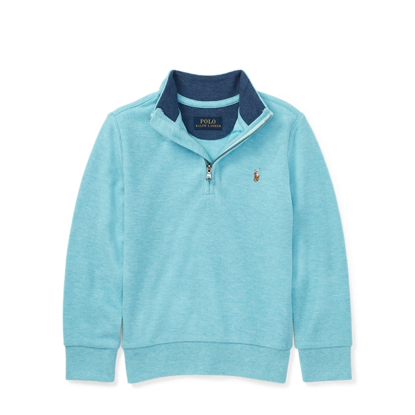 Ralph Lauren Cotton Mesh Half-Zip Pullover Beach Aqua Heather 2T