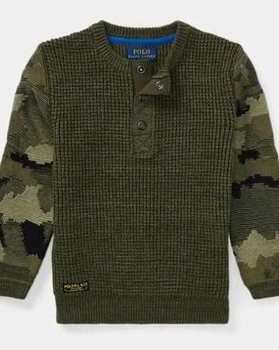 Camo-Sleeve Cotton Sweater
