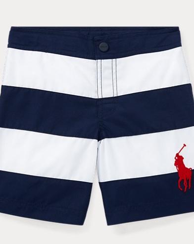 Striped Twill Swim Trunk