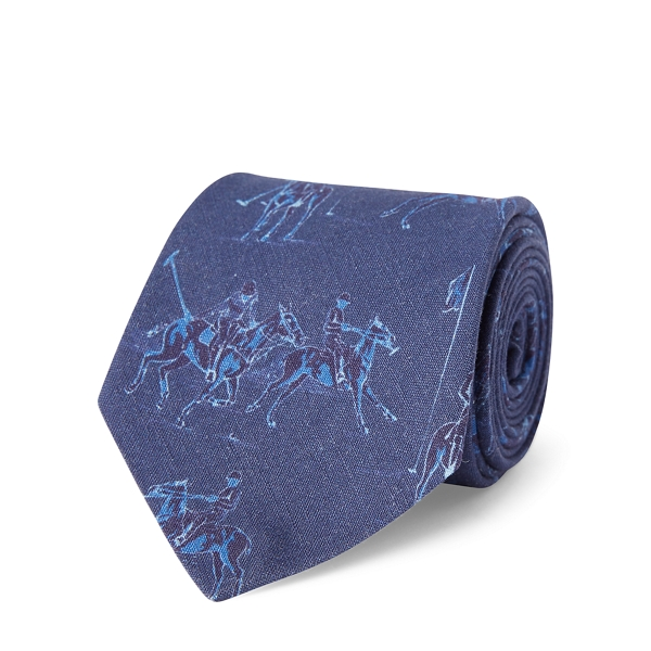 Ralph Lauren Polo Linen-Silk Narrow Tie Navy One Size
