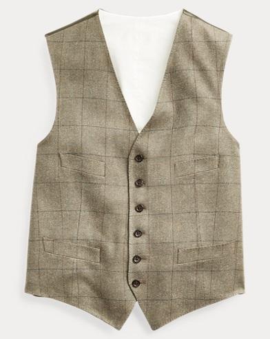 Windowpane Tussah Silk Vest