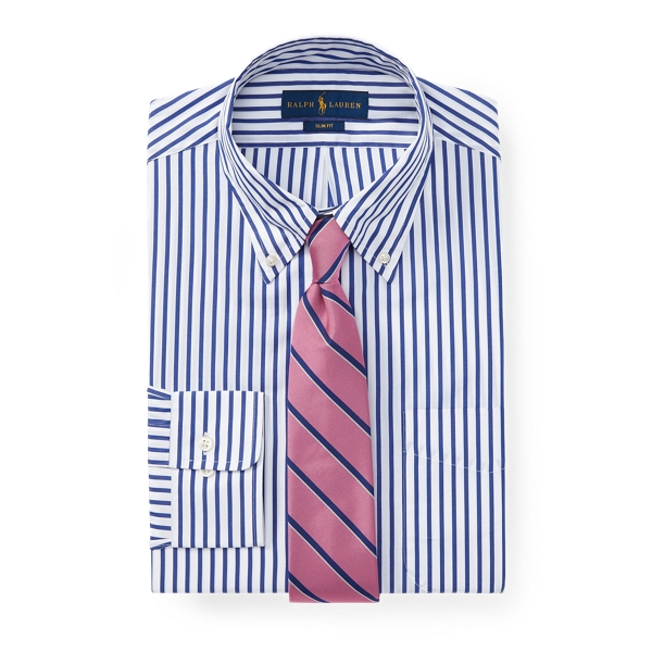 Ralph Lauren Slim Fit Striped Poplin Shirt 2339 Navy/White 16