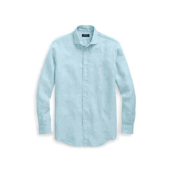 Ralph Lauren Classic Fit Linen Shirt Turquoise/White 2X Big