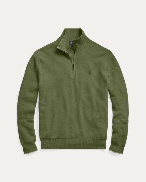 d96b3e89558b Cotton Mesh Half-Zip Sweater
