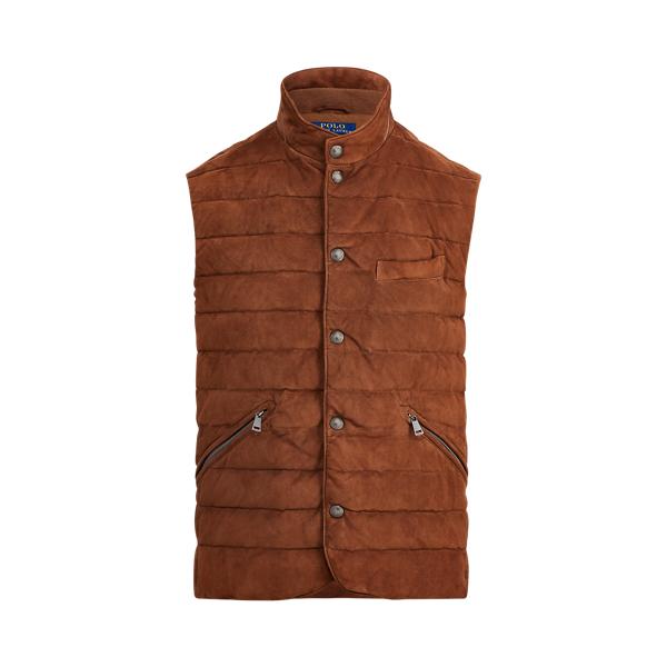 폴로 랄프로렌 Polo Ralph Lauren Quilted Suede Vest,Country Brown