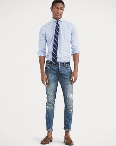 Slim-Fit Hemd aus Baumwoll-Ratière