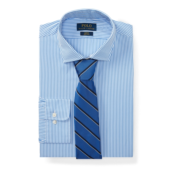 Ralph Lauren Slim Fit Striped Poplin Shirt 2267 Soft Blue/White 17.5