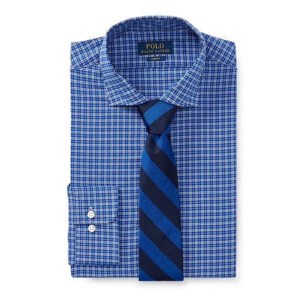 Ralph Lauren Slim Fit Plaid Poplin Shirt 2279 Royal/White 16