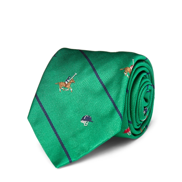Ralph Lauren Striped Silk Repp Narrow Tie Green One Size