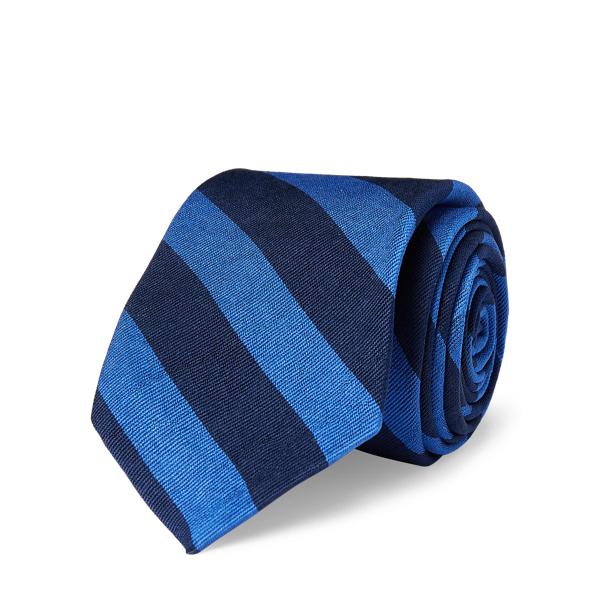 Ralph Lauren Striped Silk Repp Narrow Tie Navy/Blue One Size