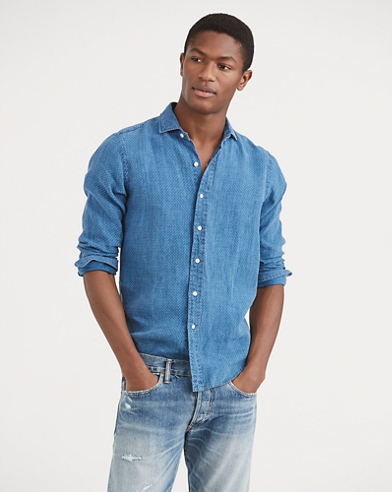 Slim Fit Indigo Linen Shirt