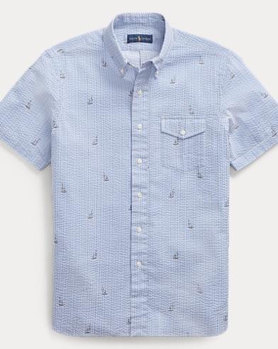 Classic Fit Boat-Print Shirt