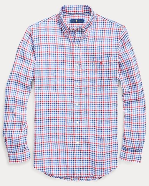 d59bd10e Classic Fit Plaid Linen Shirt