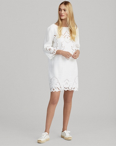 Lace-Trim Linen Shift Dress