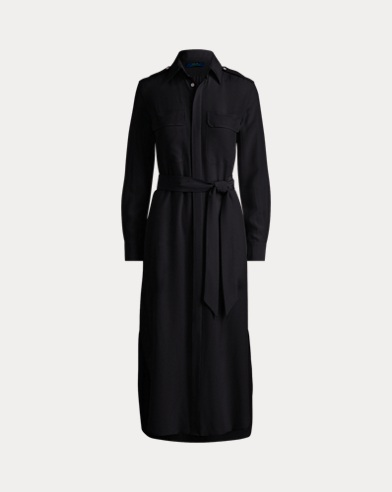 Belted Silk Crepe Shirtdress