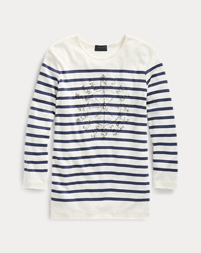 Striped Ribbed Cotton T-Shirt