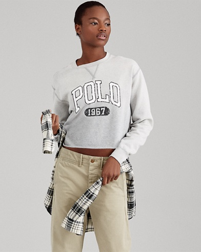 Polo Cropped Fleece Sweatshirt