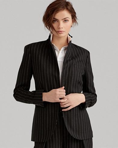 Pinstripe Linen-Wool Jacket