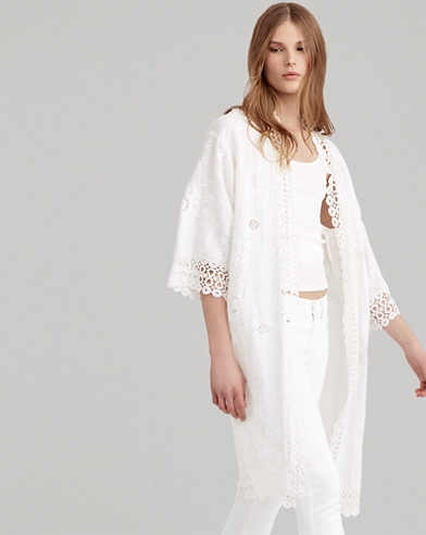 Eyelet-Lace Linen Duster