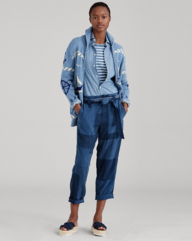 Patchwork Straight-Leg Pant