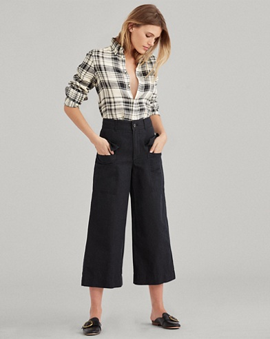 Cotton-Linen Wide-Leg Pant