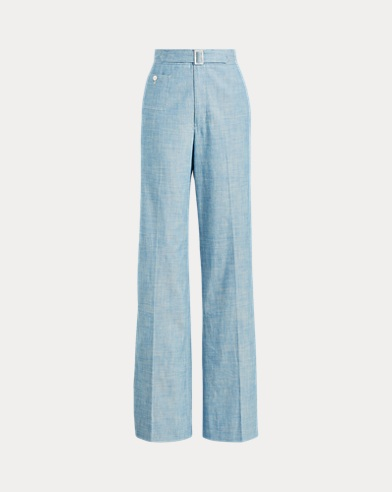 Buckled Chambray Wide-Leg Pant